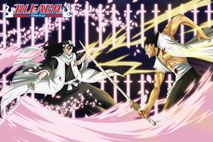 Byakuya vs Kenpachi by Nouin