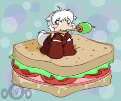 Chibi Inu- Sandwich- In color by o0OInuyashaO0o