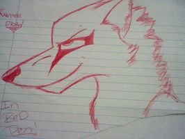 Red pen wolf by iluvwolfies