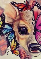 Lil Deer and Butterflies _ Colors Test by EVanillaArt
