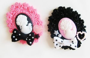 cameo brooches by DaftDollAlice