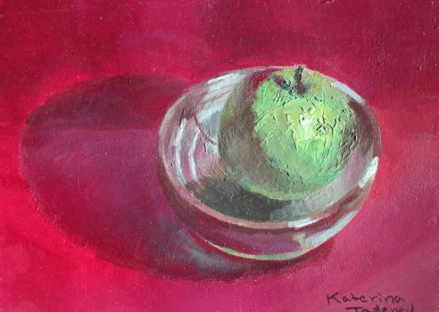 Contrastful Green Apple, in a Stone Bowl by KaterinARTadenev