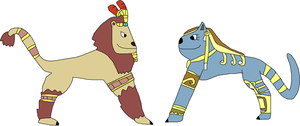 Anhur and Bastet by jacobyel