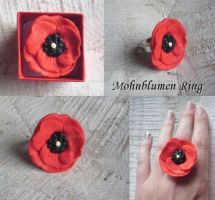 Poppy ring - polymer clay by BerryMouse