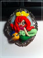 Ariel e Flounder Cameo Polymer clay Cameo by DarkettinaMarienne