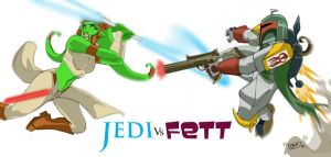 Jedi Vs Fett by mrlavo