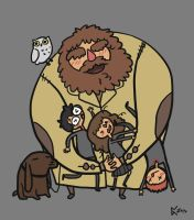 Hagrid and the Trio - Big Hug by albus119