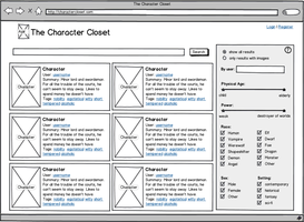Character Closet - UX Wireframe by ElizaWyatt