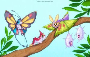 Beautifly Wurmple Dustox Cascoon and Silcoon by francis-john
