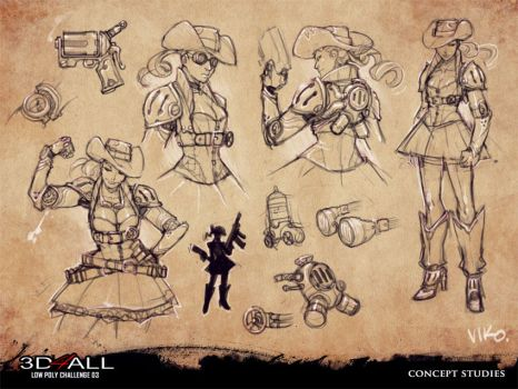 Steampunk Cowgirl studies by viko-br