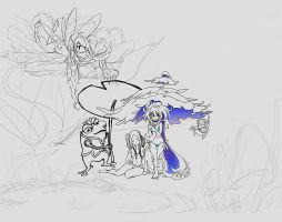 Umbrellas WIP Part 2 by Pencil-this