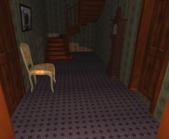 Small hallway with staircase by FarmandRules