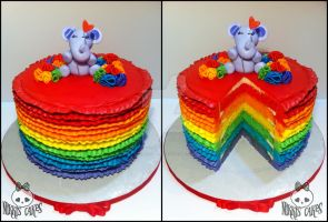 Rainbow Ruffle Buttercream Cake by Corpse-Queen