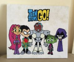 Teen Titans Go! Cross Stitch completed by ambie719