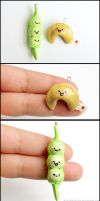 Food Charms - Fortune Cookie and Pea Pod by Bon-AppetEats