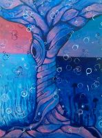 Tree Painting -  Surrender - Acrylic Painting by VioletSuccubus