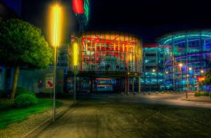 nearby shopping mall at night by penner2000