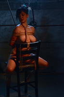 Rope bondage girl tied to chair by dexxpics