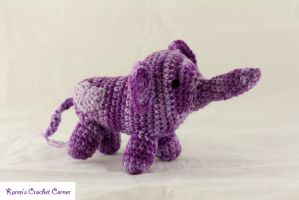 Purple Valentine Elephant by karenscrochetcorner