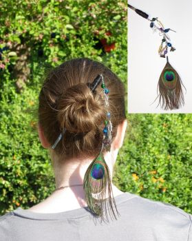 Peacock Hair Jewlery by rmdraco84
