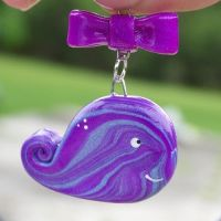 Purple and Blue Pearlescent Whale Necklace by Shelby-JoJewelry