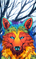 Colourful Wolf by Wavyrr