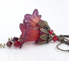 Purple and red lucite flower bell flower earrings by CreativityJewellery
