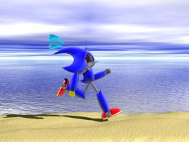 Metal Sonic Fleeing by ShadeFox