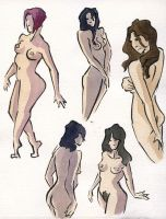 Ink and Watercolor Nudes 2 by zacharyknoles