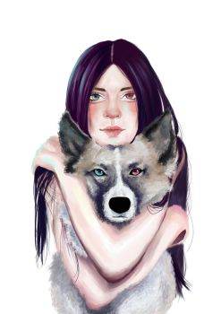 the girl and the dog by DemonicBlackCat