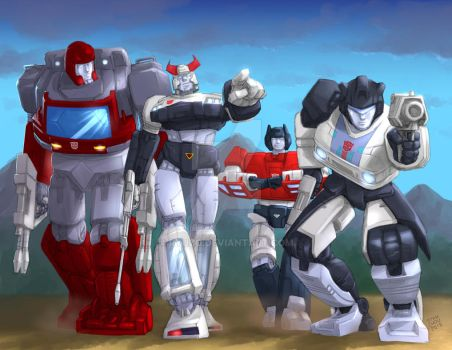 Ironhide Prowl Sideswipe Jazz Walk in Slow Motion by ryuzo