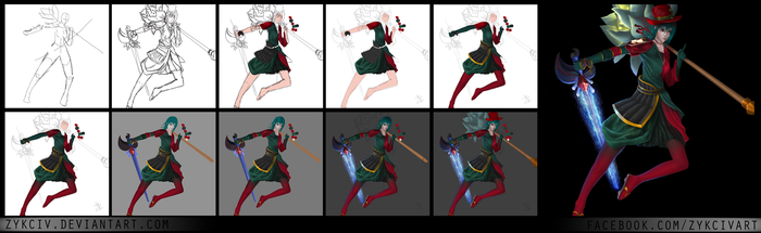 Step by Step - Female Ninja Saga Character by Zykciv