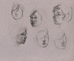 head sketches by Cissell