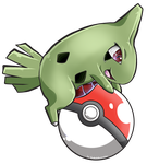CM: Larvitar and Pokeball by shadowhatesomochao