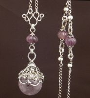 Amethyst Ball Necklace by WiredElements