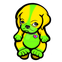 Love Pug Puppy Yellow and Green by sookiesooker