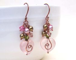 Rose quartz heart earrings by CreativityJewellery