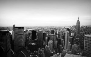 Manhattan from Rockefeller BW by FletchLives