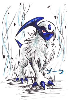 Absol drawing (Request) by LizChwan