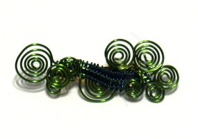 Green and Blue Wire Wrapped Pin by cakhost