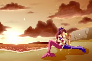 A Sunsetting love (Done by Bramhistory) by WielderOfBlueFlames
