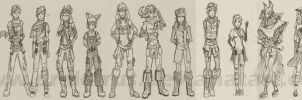 Character Designs - Class Doodles by Drakarus