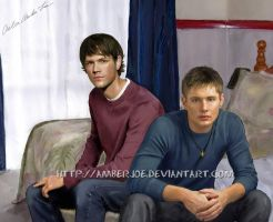 Dean and Sam_ motel room by AmberJoe