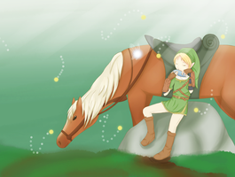 Link, Navi and Epona by yosibunn