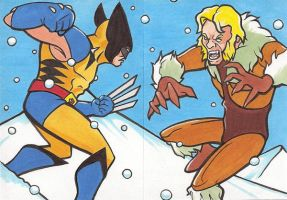 WOLVERINE VS SABERTOOTH PERSONAL SKETCH CARDS by Tyrant-1