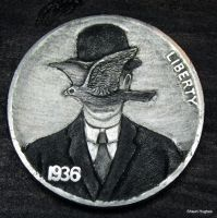 Re Carved Coin Rene Magritte Man in a Bowler Hat by shaun750