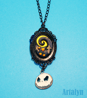 Pumpkin patch- Nightmare Before Christmas Necklace by Artalyn