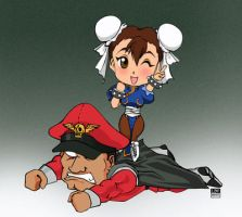 Chibi Bison and Chun Li by Lain-de-Craven
