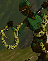 Robot Vs Snake by Beanhex