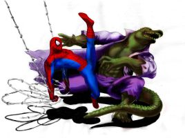 Spiderman vs Lizard by ogonbat